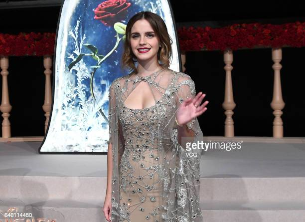 """British actress Emma Watson attends the premiere of American director Bill Condon's film """"Beauty and the Beast"""" at Walt Disney Theatre on February..."""