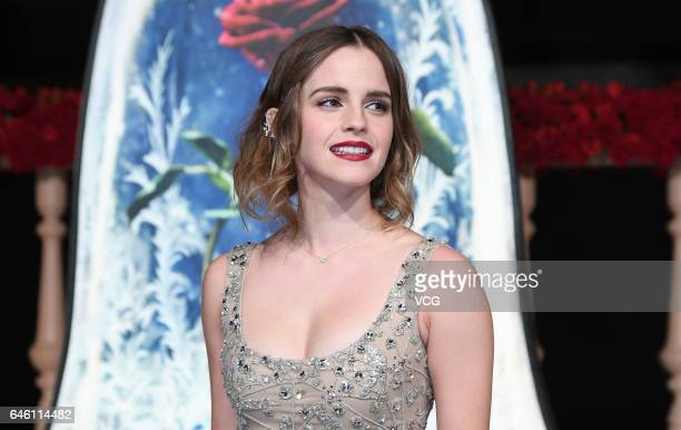 British actress Emma Watson attends the premiere of American director Bill Condon's film Beauty and the Beast at Walt Disney Theatre on February 27...