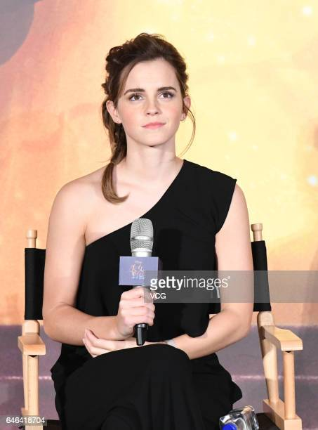 British actress Emma Watson attends the press conference of American director Bill Condon's film 'Beauty and the Beast' on February 28 2017 in...