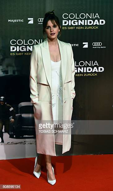 British actress Emma Watson poses for photographers on the red carpet ahead of the premiere of the film Colonia Dignidad in Berlin on February 5 2016...