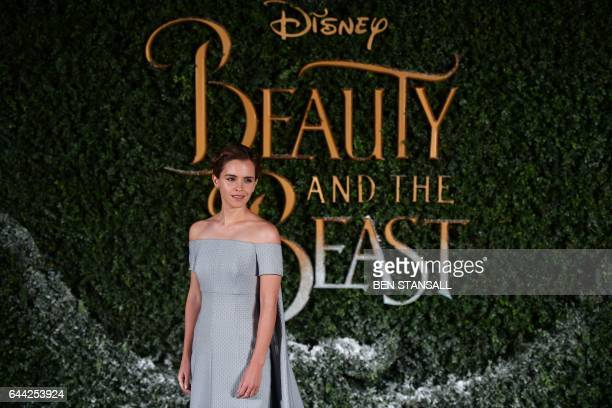 British actress Emma Watson poses upon arrival at the UK launch of the film 'Beauty and the Beast' in London on February 23 2017 / AFP / Ben STANSALL