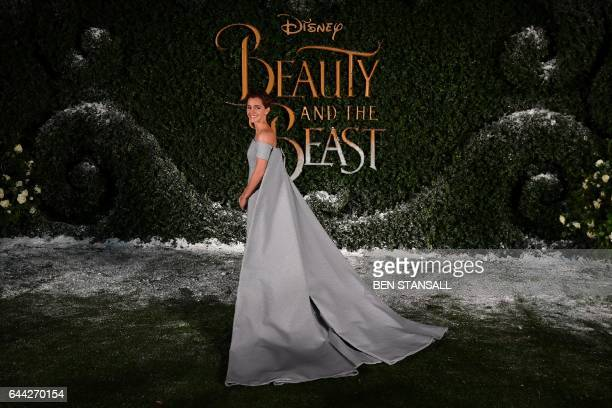 "British actress Emma Watson poses upon arrival at the UK launch of the film ""Beauty and the Beast"" in London on February 23, 2017. / AFP / Ben..."