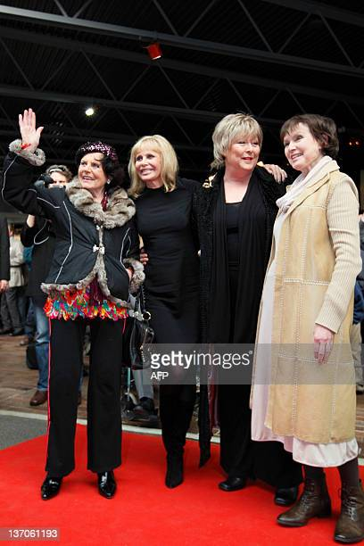 British actress Eunice Gayson Swedish actress Britt Ekland British actress Jenny Hanley and British actress Madeline Smith pose for photographers at...