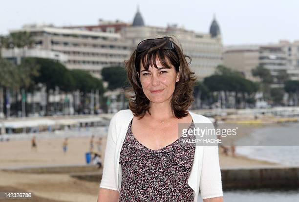 British actress Fiona Dolman poses during a photocall for their serie Midsomer Murders Inspector Barnaby during the MIPTV on April 2 2012 in Cannes...