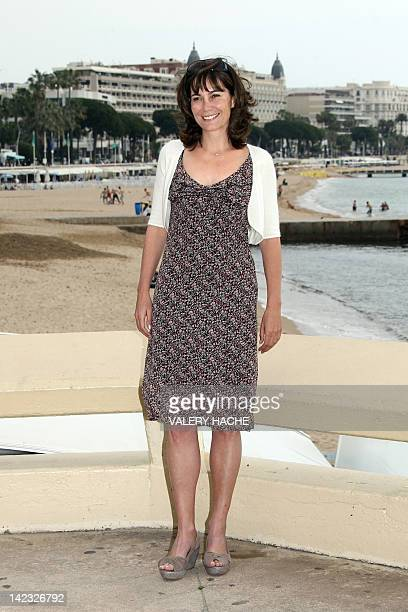 """British actress Fiona Dolman poses during a photocall for their serie """"Midsomer Murders, Inspector Barnaby"""", during the MIPTV, on April 2, 2012 in..."""