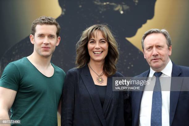 British actress Fiona Dolman poses with British actors Neil Dudgeon and Nick Hendrix during a photocall for the TV show Midsomer murders as part of...
