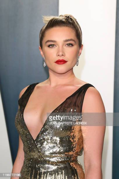 British actress Florence Pugh attends the 2020 Vanity Fair Oscar Party following the 92nd Oscars at The Wallis Annenberg Center for the Performing...