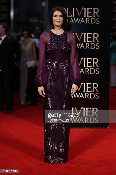 British actress Gemma Arterton poses on the red carpet upon arrival to attend the 2016 Laurence Olivier Awards in London on April 3 2016 / AFP /...