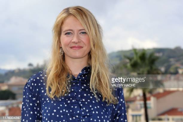 "British actress Genevieve Barr poses during a photocall for the television series ""The accident"" as part of the MIPCOM, the World's biggest..."
