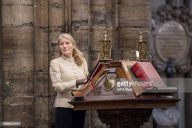 British actress Geraldine James attends a service of thanksgiving for the life and work of Lord Attenborough CBE at Westminster Abbey on March 17...