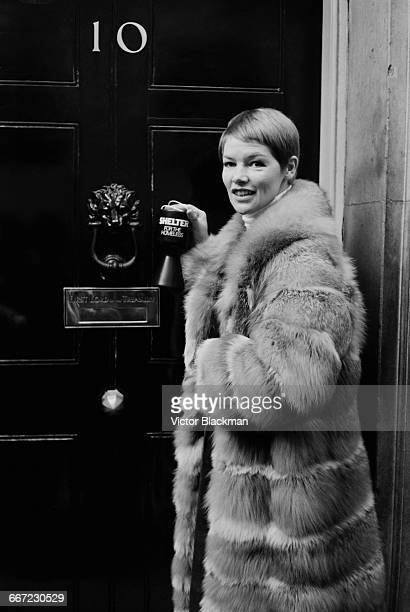 British actress Glenda Jackson collecting for Shelter, a charity which aims to end homelessness, at 10 Downing Street, London, 8th October 1971.