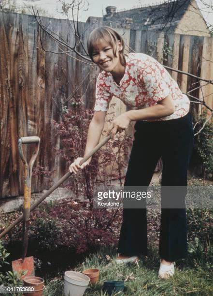 British actress Glenda Jackson does some work in the garden circa 1970