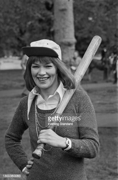 British actress Glenda Jackson plays baseball in London's Hyde Park, to promote her latest film 'A Touch of Class', UK, 17th May 1972.