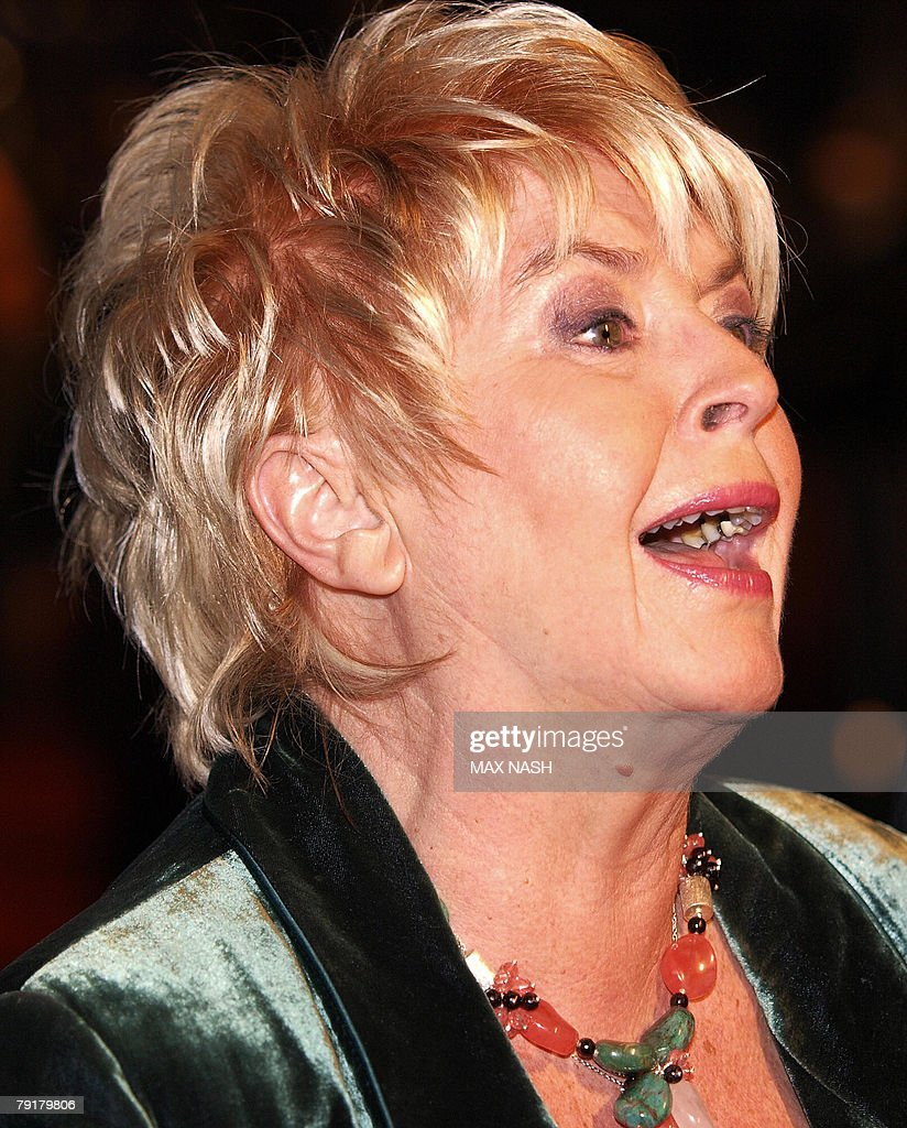 British actress Gloria Hunniford jokes with her fans as she arrives at London's Leicester Square, 23 January 2008, to attend the British Premiere of the film 'The Bucket List' directed by Rob Reiner. AFP Photo / Max Nash