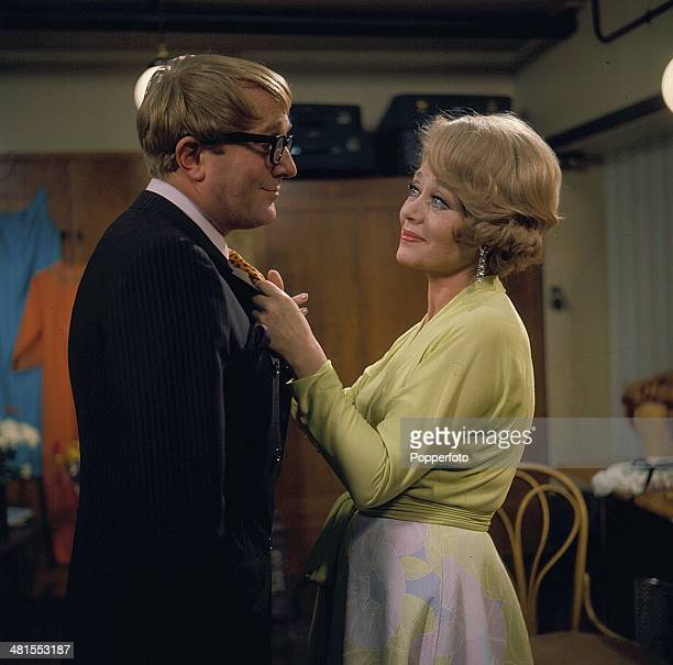 1968 British actress Glynis Johns pictured in a scene with the actor Robert Hardy in the television drama 'Star Quality' in 1968