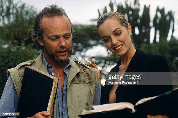 British actress Greta Scacchi and director screenwriter actor and producer Michael Radford on the set of his film White Mischief