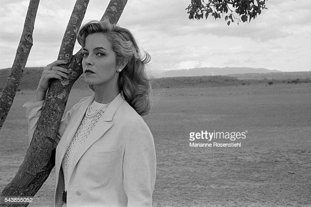 "British actress Greta Scacchi on the set of ""White Mischief"" by British director, screenwriter, actor and producer Michael Radford."
