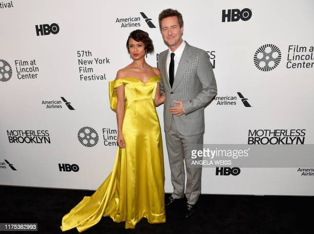 British actress Gugu MbathaRaw and US director/actor Edward Norton attend the premiere of Motherless Brooklyn during the 57th New York Film Festival...