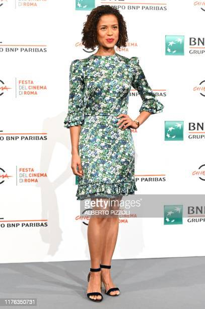 British actress Gugu MbathaRaw poses during a photocall for US crime drama Motherless Brooklyn as part of the 14th Rome Film Festival on October 17...