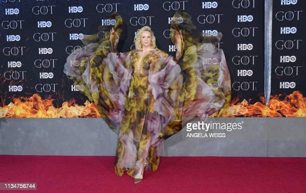 TOPSHOT British actress Gwendoline Christie arrives for the Game of Thrones eighth and final season premiere at Radio City Music Hall on April 3 2019...