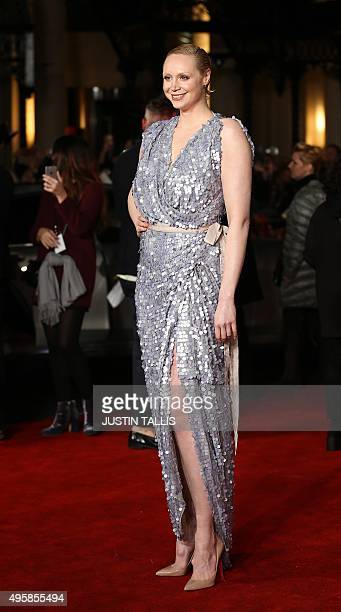 """British actress Gwendoline Christie arrives on the red carpet to attend the UK Premiere of the film """"The Hunger Games: Mockingjay Part 2"""" in central..."""