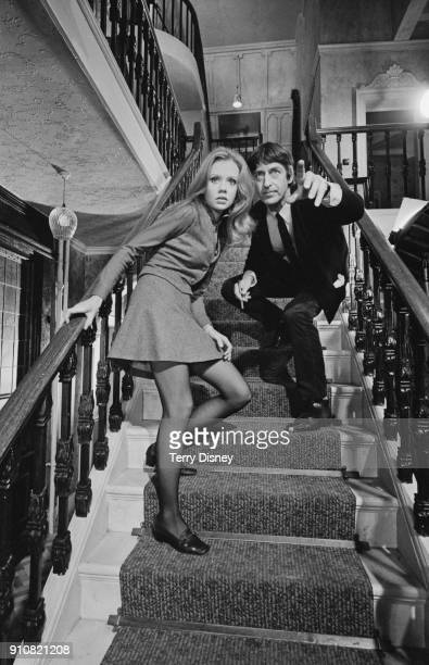 British actress Hayley Mills with British director Roy Boulting on the set of psychological thriller film 'Twisted Nerve' UK 12th January 1968