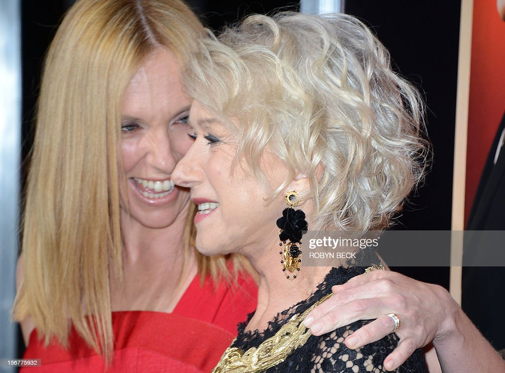 British actress Helen Mirren (R) and Australian actress Toni Collette arrive at the premiere of 'Hitchcock' at the Academy of Motion Picture Arts and Sciences Samuel Goldwyn Theater on November 20, 2012 in Beverly Hills, California. AFP PHOTO/Robyn BECK