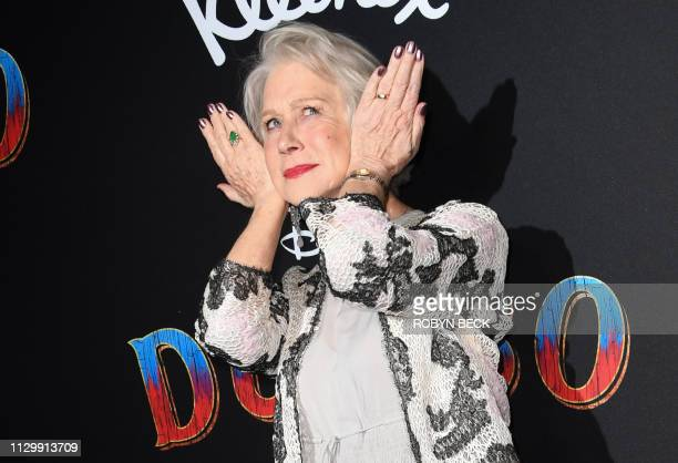 British actress Helen Mirren arrives for the world premiere of Disney's Dumbo at El Capitan theatre on March 11 2019 in Hollywood