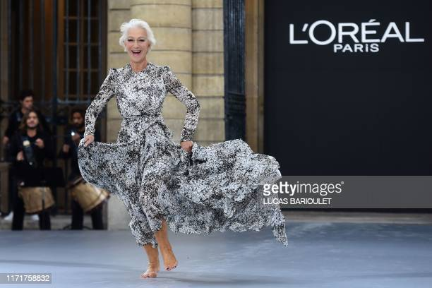 British actress Helen Mirren presents a creation for L'Oreal during the Women's Spring-Summer 2020 Ready-to-Wear collection fashion show at the...