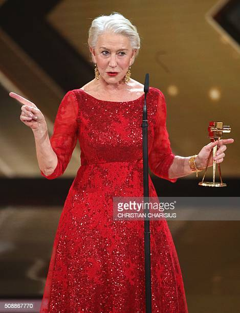 British actress Helen Mirren receives the Golden Camera award for her life's work in Hamburg northern Germany on February 6 2016 / AFP / POOL /...