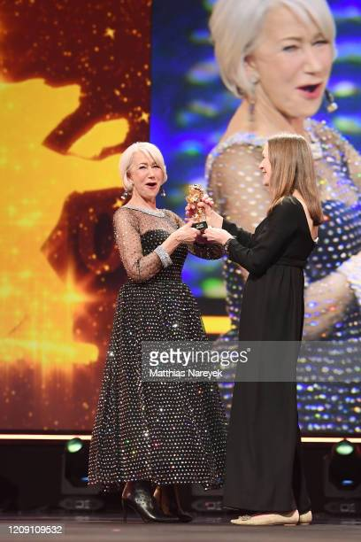 British actress Helen Mirren recieves the Honorary Golden Bear from Managing director of the Berlinale film festival Mariette Rissenbeek at the...