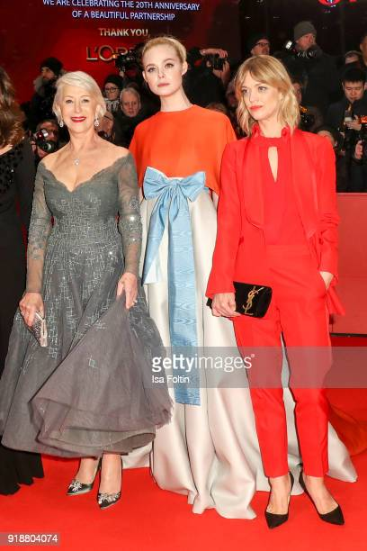 British actress Helen Mirren US actress Elle Fanning and German actress Heike Makatsch attend the Opening Ceremony 'Isle of Dogs' premiere during the...