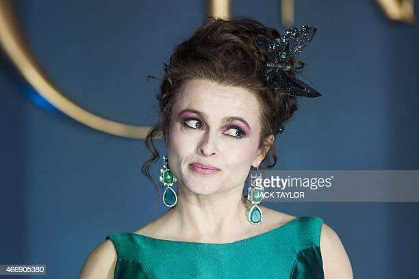 British actress Helena Bonham Carter poses for photographers on the red carpet ahead of the UK premiere of the film 'Cinderella' in central London on...