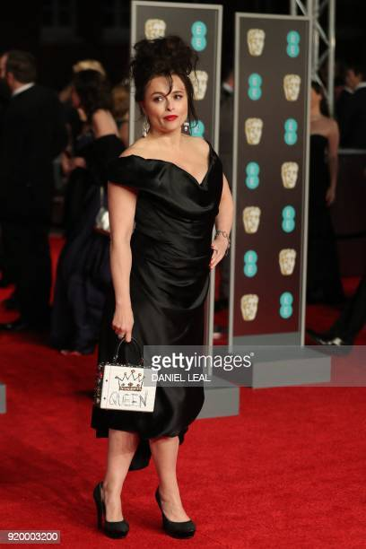 British actress Helena BonhamCarter poses on the red carpet upon arrival at the BAFTA British Academy Film Awards at the Royal Albert Hall in London...