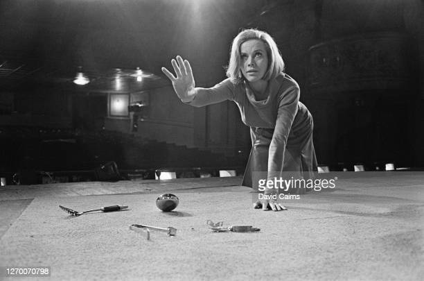 British actress Honor Blackman during rehearsals for the play 'Wait Until Dark' at the Strand Theatre in London, 26th July 1966.