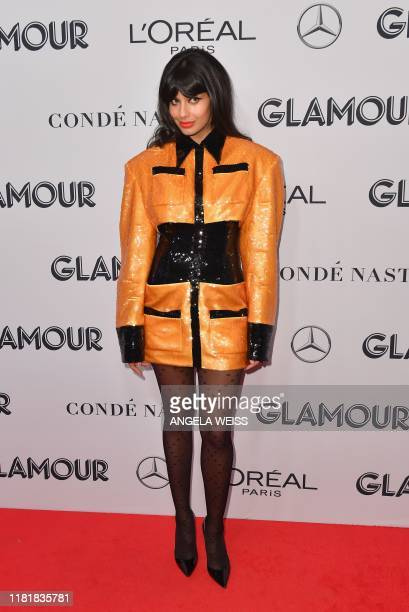 British actress Jameela Jamil attends the 2019 Glamour Women Of The Year Awards at Alice Tully Hall Lincoln Center on November 11 2019 in New York...