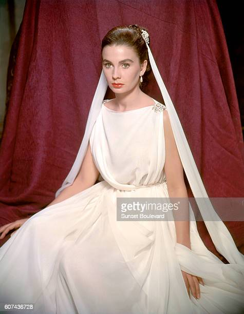 British actress Jean Simmons on the set of The Robe directed by Henry Koster