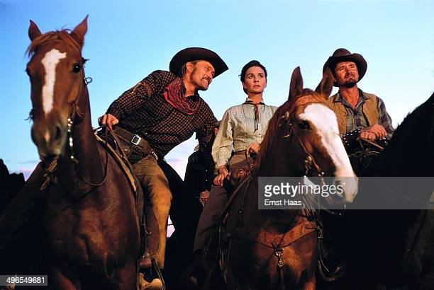 British actress Jean Simmons stars with Chuck Connors and Chuck Hayward in the western 'The Big Country' USA 1958