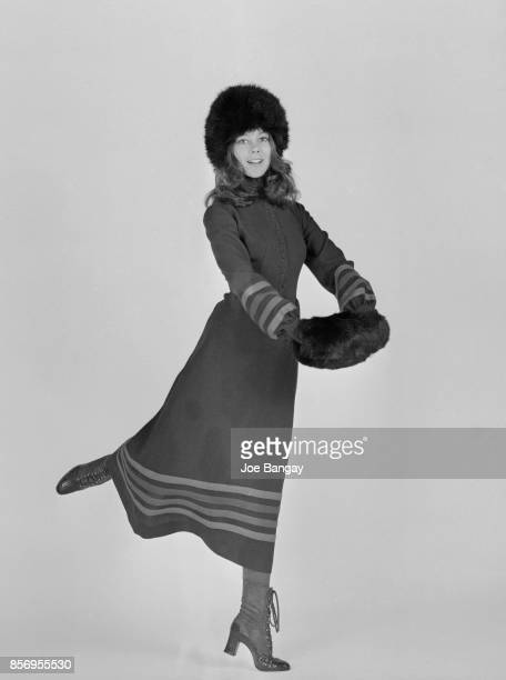 British actress Jenny Agutter wearing a midi dress and fur hat and muff 1st December 1970