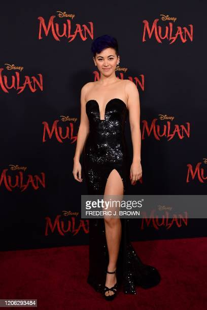 """British actress Jessica Henwick attends the world premiere of Disney's """"Mulan"""" at the Dolby Theatre in Hollywood on March 9, 2020."""