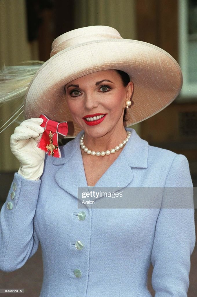 British Actress Joan Collins, OBE After her investiture with the OBE at Buckingham Palace.