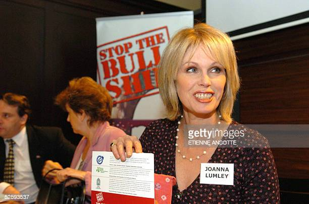British actress Joanna Lumley looks on during a press conference to present Stop the the Bull Ship the new international campaign for the suppression...