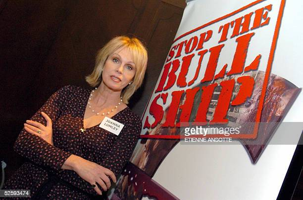 British actress Joanna Lumley poses during a press conference presenting Stop the the Bull Ship the new international campaign for the suppression of...