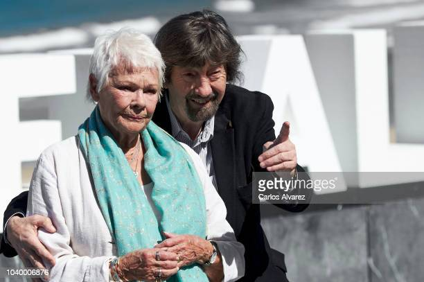 British actress Judi Dench and director Trevor Nunn attend the 'Red Joan' photocall during the 66th San Sebastian International Film Festival on...