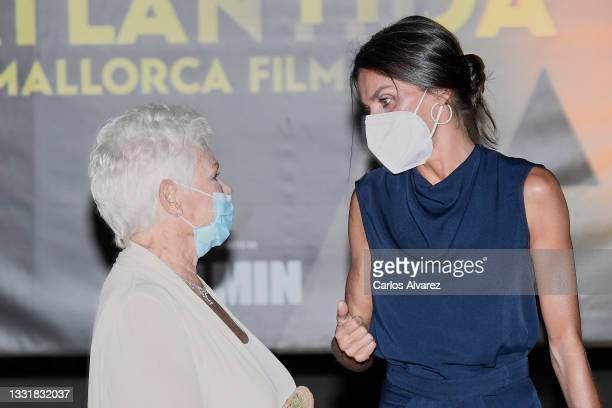 British actress Judi Dench and Queen Letizia of Spain attends to Closing Ceremony of Atlantida Mallorca Film Fest 2021 on August 01, 2021 in Palma de...