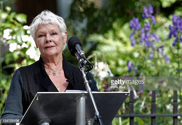 British actress Judi Dench gives a reading to friends and family of victims of the attacks on the World Trade Centre in New York during the tenth...