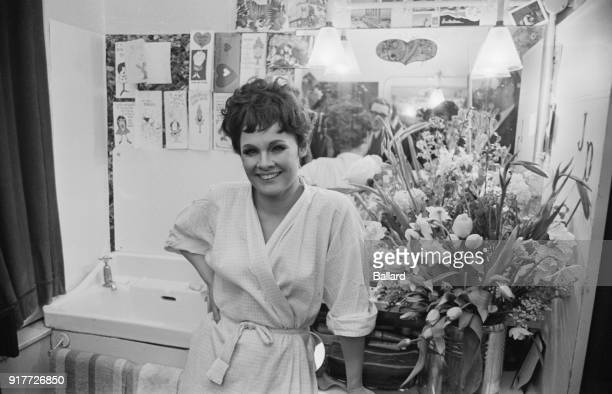 British actress Judi Dench in her dressing room before the premiere of musical 'Cabaret' at Palace Theatre, London, UK, 28th february 1968.