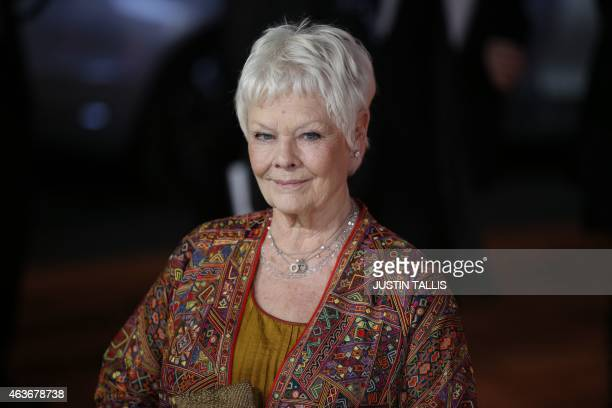 British actress Judi Dench poses for photographers on the red carpet ahead of the Royal and World Premiere of the film 'The Second Best Exotic...