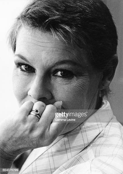 British actress Judi Dench seen in her dressing room preparing for her role as Amy O'Connell in the RSC production of Harley Granville Barker's...