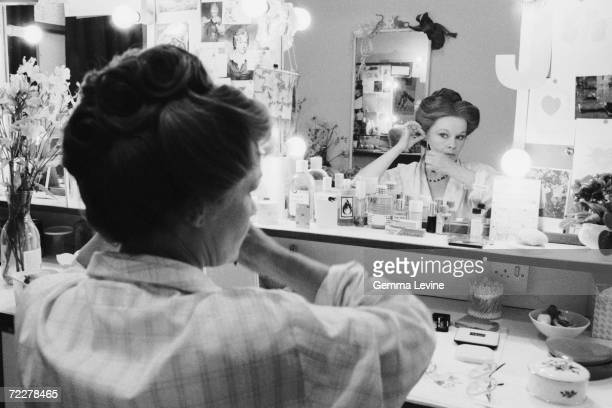 British actress Judi Dench seen in her dressing room preparing for her role as Amy O'Connell in the RSC production of Harley GranvilleBarker's...